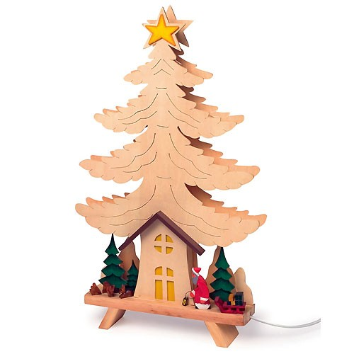 weihnachtsbeleuchtung holz weihnachtsdeko tannenbaum lampe 34x56cm. Black Bedroom Furniture Sets. Home Design Ideas
